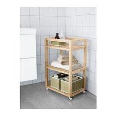IKEA - MOLGER, Hylle med hjul, mørk brun, , Lett å flytte - hjul er inkludert.