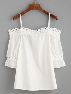 White Cold Shoulder Appliques Hollow Out Ruffle Blouse -SheIn(Sheinside) Mobile Site