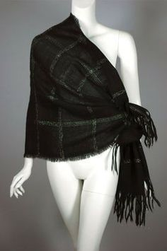 Black & silver wool 50s evening wrap or scarf E15