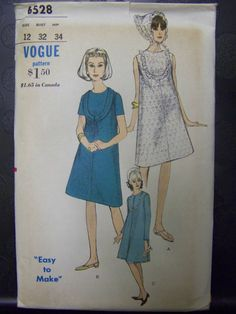 Vtg 1960s Vogue 6528 Sleeveless One-Piece MATERNITY Dress & Scarf Pattern sz 12 COMPLETE by RaggsPatternStash on Etsy