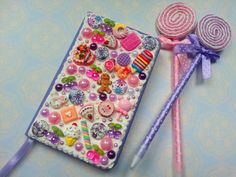Purple Decoden Notebook  Hand Decorated Jotter Book by Scrappyness, £3.99