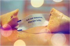 fools use tomorrow, wise use today