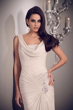 2014 Elegant Prom Dresses Sheath Cowl Neck Floor Length Chiffon New Arrival USD 129.99 TSPPAAEB7JR - StylishPromDress.com