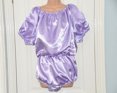 FI 204 - AB double satin rompers, silky slithery all-in-one teddy, silky soft lounging wear, Adult Baby maybe?