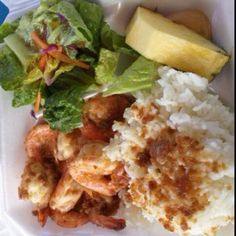 Garlic Butter Shrimp at Macky's Shrimp Truck in Haleiwa, Hawaii....The best shrimp I've ever had in my life #seriously!!