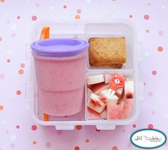 And another really easy morning nutrition break bento. A strawberry smoothie - I make huge batches ahead of time and freeze them in these wonderful little freezer jam jars. I take them out in the morning and they are defrosted by her break. Plus, they help keep the lunch cool. I also packed her a cereal bar and a container of white peaches with a cute little pick.