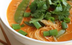 One-Pot Red Curry Noodle Soup [Vegan]  Don't use long noodles unless you want your face, clothes, and everything else splattered in curry!