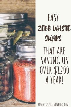Did you know going zero waste can help you save money? It's true! By implementing these super easy zero waste swaps (over 30 different ideas), my family and I have saved over $1200 a year - or over $100 a month! Plus, these tips are EASY and utilize things you may already have on hand. #zerowasteswaps #reusables #zerowastetips #zerowaste