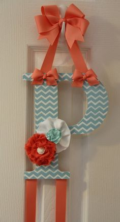 Tiffany Blue and Coral Shabby Chic Bow Holder by ruffles2ribbons, $18.00