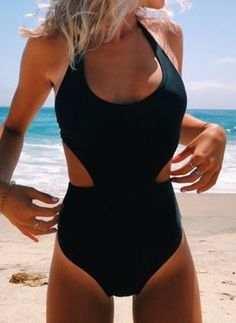 Polyester Halter One-piece Swimwear - Black / XXL Source by floryday black Cute One Piece Swimsuits, One Piece Bikini, One Piece Swimwear, Bikinis, Bikini Swimwear, Bathing Suits Hot, Stuck, Bikini Outfits, Swimwear Fashion