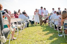 this couple's dogs walked back up the aisle with them :)