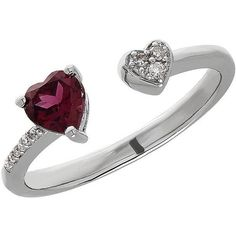 Lord & Taylor Garnet, Sterling Silver and Diamond Heart Open Ring (345 AUD) ❤ liked on Polyvore