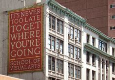 School of Visual Arts. East Street and Third Avenue, NYC. Sign designed by Louise Fili Ltd. Louise Fili, Show Me A Hero, Student Loan Forgiveness, Mosaic Portrait, Dream School, Mosaic Pictures, School Of Visual Arts, Never Too Late, Typography Inspiration