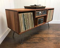 Solid mahogany turntable cabinet with album storage. Mid century modern record player console with vinyl storage. Modern Record Player, Record Player Console, Stereo Cabinet, Record Cabinet, Console Cabinet, Diy Storage Cabinets, Storage Rack, Hifi Regal, Vynil