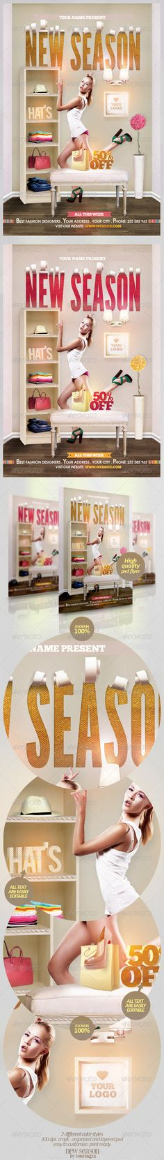 New Season Flyer Template/ $6. *** This flyer is perfect for the promotion of Shops/Boutiques, Sales/Promotions, Fashion Shows, New Collections or Whatever you Want!.***