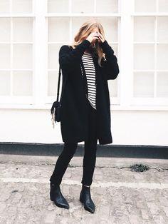 Stripes, black pants, Chelsea boots