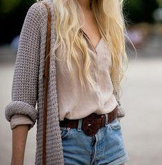 Denim Shorts, brown belt, gorgeous tan shirt, amazing gray sweater, and lovely blonde hair.