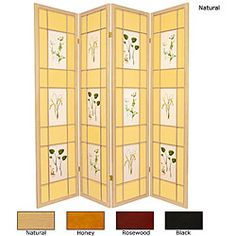 @Overstock - Create unique and individual spaces in your home with this floral screen. This decorative room divider features a classic design with four panels and is made with spruce frames.http://www.overstock.com/Worldstock-Fair-Trade/Wood-and-Paper-Herbal-Floral-4-panel-Room-Divider-China/4104928/product.html?CID=214117 $175.89