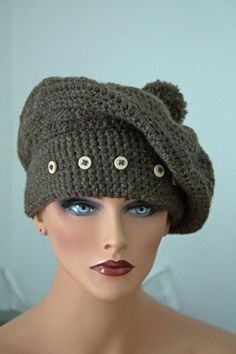 Hand made crocheted beret hat with Pom Pom. by The2HookersShop, $39.95
