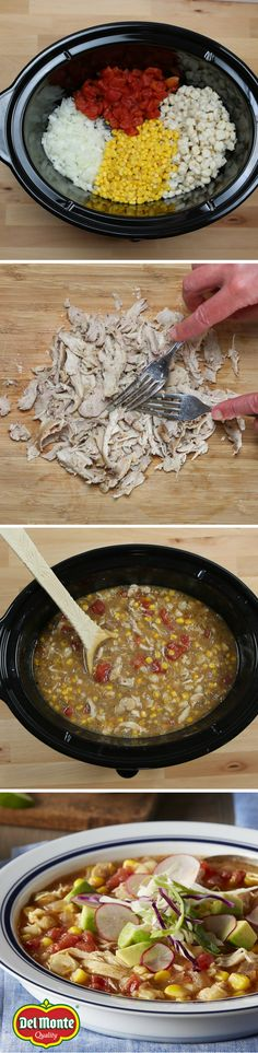 Two Corn Chicken Posole - This hearty Mexican stew is prepared in a slow-cooker. Posole's signature ingredient is corn, and this tasty chicken stew features both sweet whole kernel corn and hominy. Top with a variety of fresh ingredients for a delicious, authentic meal in a bowl that you only spend 10 minutes to prep!
