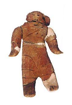 "Japanese ceramic figurine ""DOGU"".   BC.2,500 - BC.1,200.   This figurine was unearthed on Hattaushi Hokkaido Japan. 北海道はったうし20遺跡"