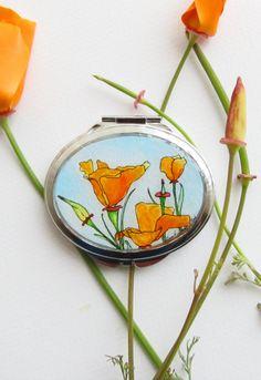 Orange California Poppies -- Original Art Compact Mirror by Sarah-Lambert Cook >> What a stunning piece!!