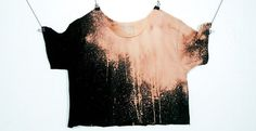 Grunge Crop Top Bleached out Black Drips Women's by ccfashion
