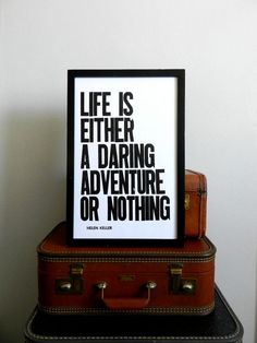 Poster Black and White Letterpress Print Travel by happydeliveries, $24.00