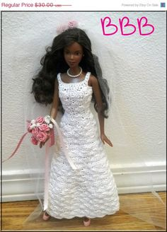 DRESS SALE Barbie Clothes Crochet Wedding Gown White with Pink Rose Accents. $25.50, via Etsy.