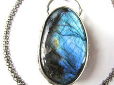 medea  huge blue fire labradorite pendant  raw by callistojewelry
