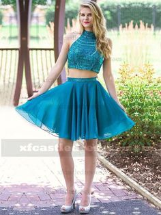 2017 Beaded Chiffon Two Piece Homecoming Dresses Halter Top GRTBZQ942