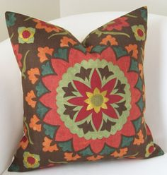 Decorative Pillow Cover 18 x 18  Inch Suzani Pillow Throw Cushion Accent Brown Red Orange