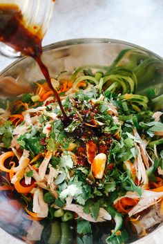 "This is a cracker of a salad! Fresh, crunchy, satisfying with a deliciously sweet/sour/zingy/crazy dressing that will quickly become your new obsession. I used my spirilizer to get the pad thai ""noodley"" effect, but you could just as easily use a veggie peeler to make ribbons instead. I added left-over roast chicken to mine, but...  Read more"