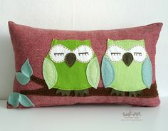 great handmade pillow cover! owls + herringbone + love these colors!