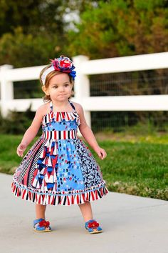 Little Girl Dress-Elise Halter Dress or Top - 4th of July Outfit on Etsy, $25.00