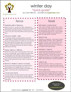 Ayurveda Guidelines for Winter