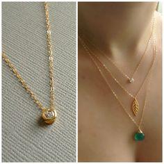 Solitaire Necklace, CZ, Crystal, Diamond Solitaire Necklace, Tiny Dot Necklace, Small Circle Necklace, Dainty, Delicate, Gold Vermeil