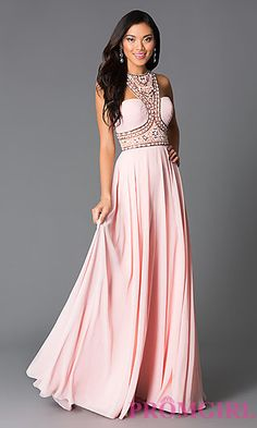 High Neck Pink Beaded Long Prom Dress at PromGirl.com