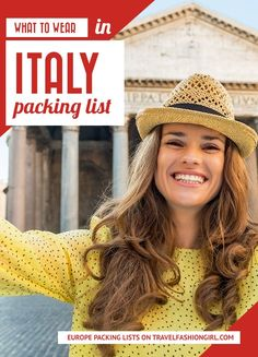 What to Wear in Italy! Find out the best outfits to wear on your trip to Italy so that you are comfortable and blend in with the locals! Italy Packing List, Packing For Europe, Packing List For Travel, Packing Lists, Travel Tips, Packing Ideas, Vacation Packing, Vacation Outfits, Travel Hacks
