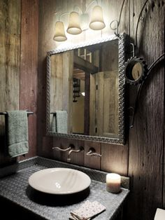 A beautiful industrial mirror from green designers Cushman Design Group in Vermont.