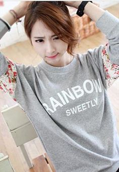 Grey And Floral Graphic Sweatshirt Jumpers For Women, Preppy Style, Graphic Sweatshirt, Clothes For Women, Sweatshirts, Lace, Floral, Sweaters, Stuff To Buy