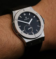 "Hublot Classic Fusion Ultra-Thin ""Shiny Dial"" Watches Hands-On Fitness Watches For Women, Best Watches For Men, Luxury Watches For Men, Stylish Watches, Cool Watches, Elegant Watches, Wrist Watches, Hublot Classic Fusion, Hublot Watches"
