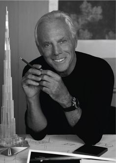 "Giorgio Armani.  ""The creative universe begins with its essentiality, and, whatever path the imagination takes, ends with its purity. . . I love the T-shirt as an anti-status symbol, putting rich and poor on the same level in a sheath of white cotton that cancels the distinctions of caste."""
