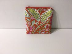 Red Floral Print Zippered Pouch Small Pink Cosmetic Bag