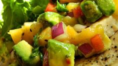 Fresh peaches with creamy avocado, bell pepper, onions, and jalapeno make a great summertime salsa.