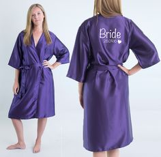 Bride Robe ideal by PureTreatsWedding Bride Dressing Gown, Personalized Wedding Gifts, Purple Wedding, Bridesmaid, Gowns, Pure Products, Bridal, Trending Outfits, Pretty