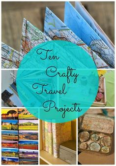 Here's ten crafty travel projects -- ideas for making fun and easy travel-related craft projects you can make as gifts or for home decor! Map Crafts, Travel Crafts, Arts And Crafts, Craft Projects, Craft Ideas, Travel Scrapbook, Project Yourself, Cool Things To Make, Family Travel