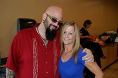 """Leslie with Jackson Galaxy, July 2013 at a photo event in LA. Jackson is a cat behaviorist with more than fifteen years of experience—and the host of Animal Planet's hit show My Cat From Hell—Galaxy specializes in helping individuals whose """"out of control"""" cats are turning their lives and homes upside down.    Jackson's memoir, Cat Daddy: What the World's Most Incorrigible Cat Taught Me About Life, Love and Coming Clean is now available. Cool guy, check him out on facebook."""