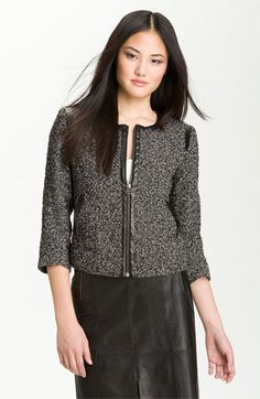 Halogen® Collarless Tweed Jacket available at #Nordstrom  I love tweed jackets and white blouses.