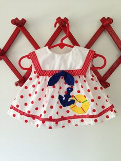Vintage Polka Dot Anchor Sailor Baby Girl Dress by JustThePretties, $15.00